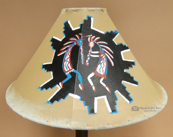"Painted Leather Lamp Shade 20"" -Kokopelli"