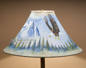 """Painted Leather Lamp Shade 18"""" -Eagle (PL93)"""
