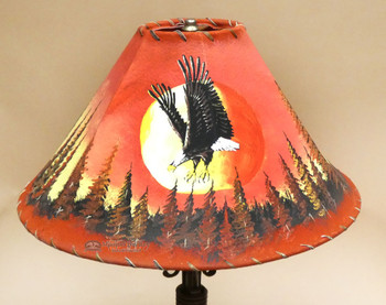 Painted Leather Lamp Shade - Sunset Eagle