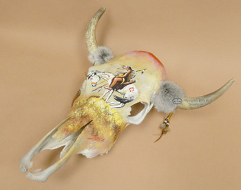 Painted Steer Skull -End Of The Trail 17.5x20 (ps4)