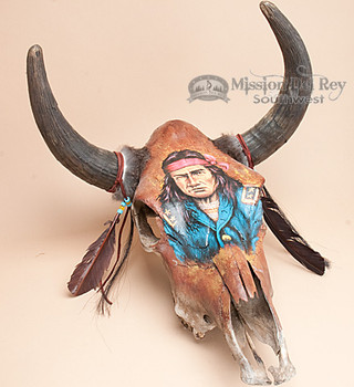 Large Painted Steer Skull - Scout