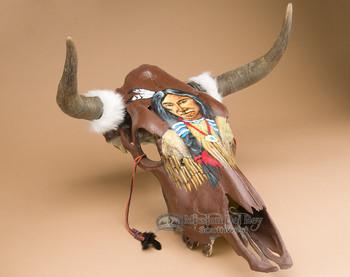 Hand Painted Steer Skull - Indian