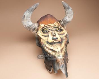 Painted Steer Skull - Bear