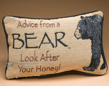 Rustic Word of Advice Pillow 12x8 -Bear