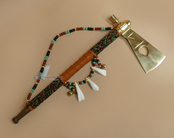Native American Creek Indian Beaded Tomahawk Pipe