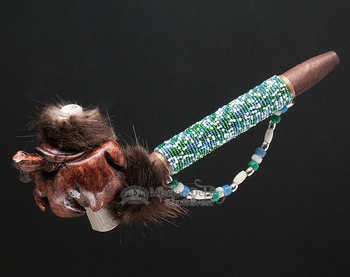 Beaded Antler Pipe With Carved Turtle