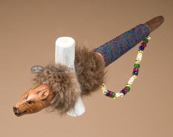 Carved Wolf Head Pipe