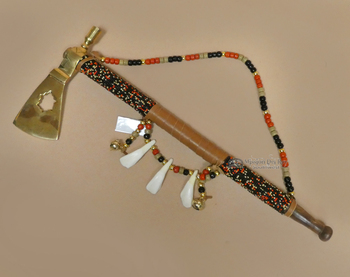 Creek Indian Beaded Tomahawk Pipe