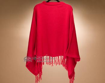 Red Knit Alpaca Poncho