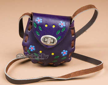 Genuine Cowhide Mini Leather Purse -purple