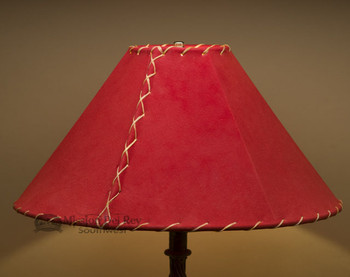 "Western Leather Lamp Shade - 18"" Red Pig Skin"
