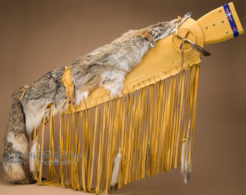 Decorative Rifle Case with Coyote Pelt - Gold