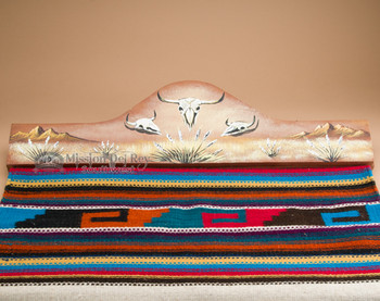 Hand painted southwestern scene rug hanger - Steer skull.