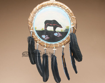 Hand Painted Navajo Rawhide Shield - Bear