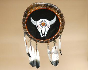 Native American Rawhide Shield - Steer Skull