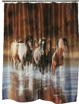 Western shower curtain with wild horses motif.