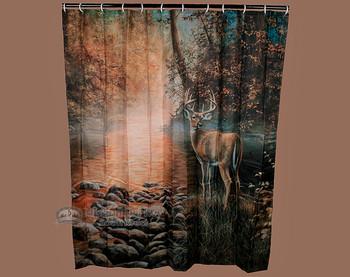 Deer shower curtain.