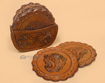 8 Pc Tooled Leather Coaster Set - Round