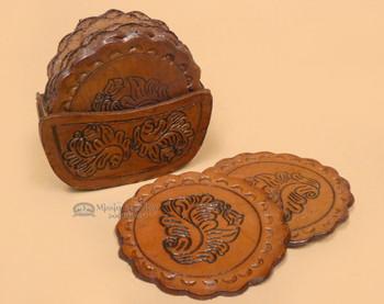 8 Pc Tooled Leather Coaster Set - Round