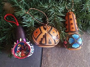 Southwest Etched Gourd Ornaments - 3 piece set