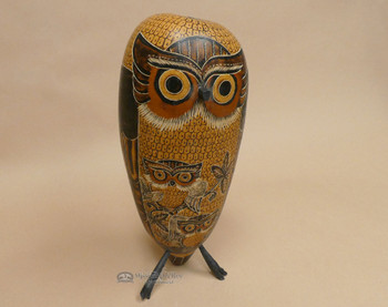 Etched Gourd Bird - Owl