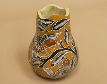 Hand Etched Andean Gourd Vase