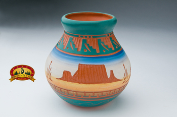 Navajo Etched Small Vase - Monuments