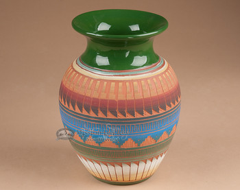 """Etchware Indian Clay Navajo Vase 7.75"""" -Navajo (T8)"""
