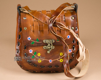 Western Leather Boho Purse Basket Weave Style