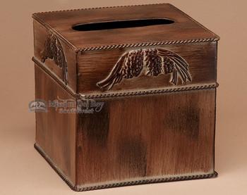 Metal tissue box cover - pine cone.