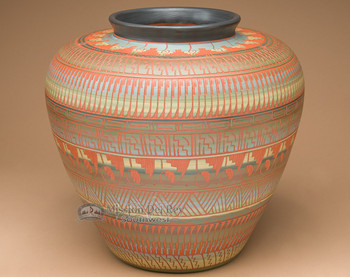 "Navajo Indian Etched Pottery Vase 13""x12"" (p14)"