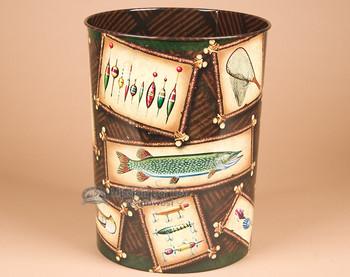 Lodge style waste basket - Fishing.