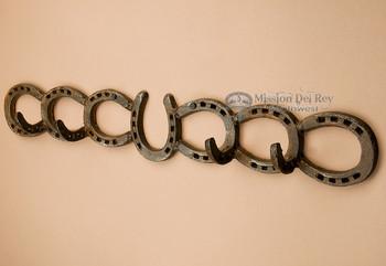 "Rustic Western Metal Art Coat Rack 24.5"" -horse shoes"
