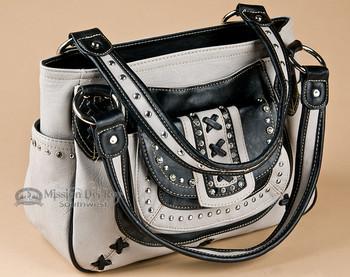 Grey Designer Western Purse