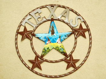 "Rustic Metal Texas Star 16"" -Indian Village"