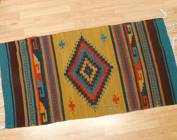 Zapotec Indian Wool Rug - 30x60