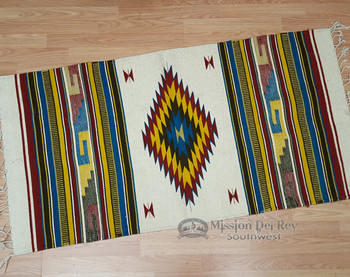 Zapotec Indian wool woven rug.