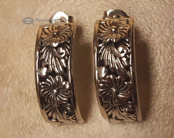 Half Hoop Sterling Silver Post Earrings