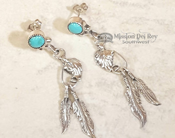 Navajo Sterling Silver Earrings - Turquoise & Feathers