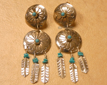 Sterling Silver Feathered Turquoise Earrings