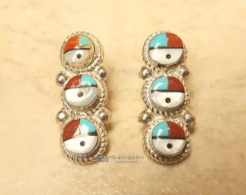 Navajo Sterling Silver Earrings -Sun Face Inlay