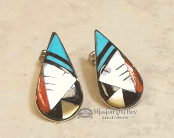 Zuni Inlaid Tear Drop Earrings