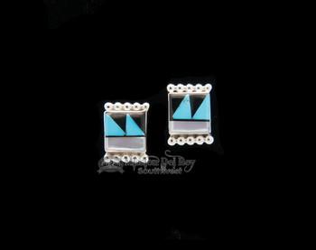 Square Inlaid Stud Earrings - Zuni