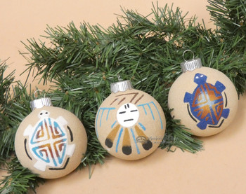 Navajo Sand Painted Pottery Christmas Ornaments -3 Set
