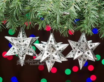 3 Pc. Handcrafted Tin Star Ornament Set