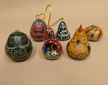 Etched Gourd Ornaments - Andean 6 piece set