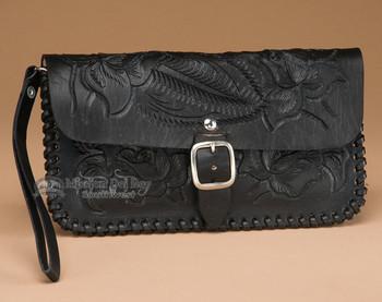 Western Tooled Cowhide Wallet Clutch