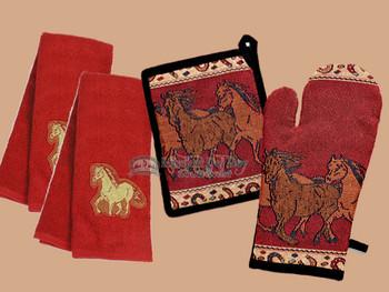 Mitt, Pot Holder & Tea Towel Set -Running Horses