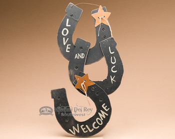Wooden Horseshoe Welcome -Love & Luck  (ws340)