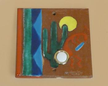 Hand Painted Saltillo Doorbell Tile - Kokopelli & Cactus